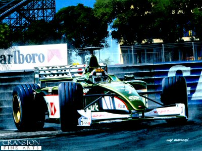 Jaguar R1, Eddie Irvine at Monaco by Ivan Berryman (GS)