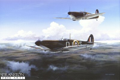 IBF0001PC. Summer 1940 by Ivan Berryman. <p> Pilot Officer Allan Wright - later Group Captain, and awarded DFC and AFC - pilots Spitfire QJ-S of No.92 Squadron during the Battle of Britain, with his wingman in close support. <b><p>Collector&#39;s Postcard - Restricted Initial Print Run of 100 cards.<p>Postcard size 6 inches x 4 inches (15cm x 10cm)