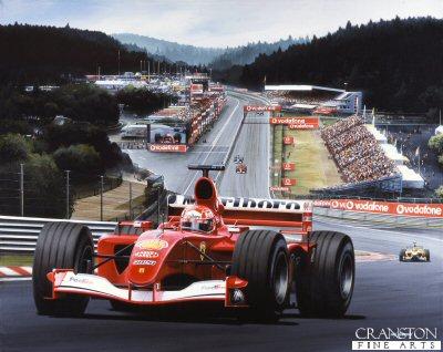 Schumacher at Spa by Ivan Berryman.