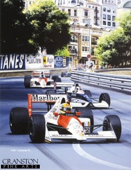 Ayrton Senna in his #27 car on his way to winning the 1990 Monaco Grand Prix, leading the Tyrell of Jean Alesi and the McLaren of Gerhard Berger out of Mirabeau and into the Station Hairpin. The historic number 27, made famous by Gilles Villeneuve at Ferrari, had been adopted by McLaren for the start of the 1990 season after Ferrari took the numbers 1 and 2 for their cars. Senna won the 1990 word championship in this car, but never drove the 27 car again after switching to number 1 for the next season.