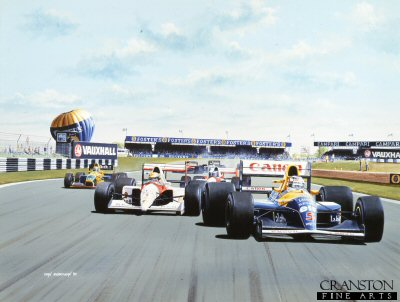 The First Lap - Nigel Mansell and Ayrton Senna, British Grand Prix, Silverstone, 1992 by Ivan Berryman.