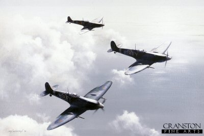Spitfires of No.611 West Lancashire Squadron by Ivan Berryman. (C)