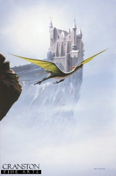 Fantasy Castle and Dragon by Ivan Berryman. (GL)