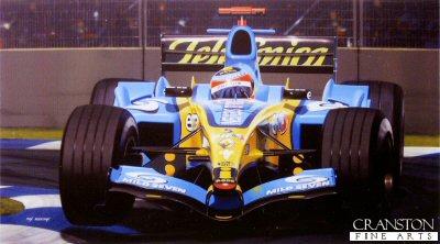 Fernando Alonso - Renault R.25 by Ivan Berryman.