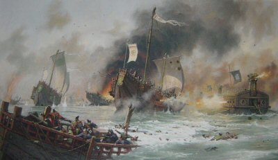 JMG1. Japanese Samurai Attack the Mongol Invasion Fleet of Khubilai Kahn, 1281 by John Michael Groves.