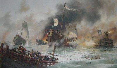 Japanese Samurai Attack the Mongol Invasion Fleet of Khubilai Kahn, 1281 by John Michael Groves. (P)