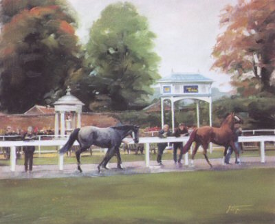 Tattersalls Sales, Newmarket (Parade Ring) by Jacqueline Stanhope.