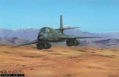 KA12.  Desert Thunder by Keith Aspinall. <p>The Rockwell B-1 Lancer.  In the early 1990s, following the Gulf War and concurrent with the disestablishment of SAC and its reassignment to the newly formed Air Combat Command (ACC), the B-1B was converted to conventional bombing use. It first served in combat during Operation Desert Fox in 1998 and again during the NATO action in Kosovo the following year. The B-1B has supported U.S. and NATO military forces in Afghanistan and Iraq. The B-1B is expected to continue to serve into the 2030s, with the Long Range Strike Bomber to start supplementing the B-1B in 2030.<b><p>Open edition print. <p> Image size 14.5 inches x 9.5 inches (37cm x 24cm)
