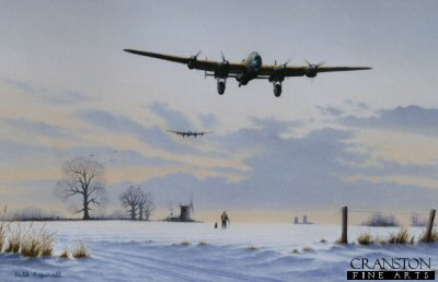 KA19. Safely Home by Keith Aspinall. <p>Returning safely form a bombing raid, a Lancaster is coming into land on a snow covered airfield. In the distance another Lancaster of the squadron also lines up for landing. A fitting tribute to all the crews of Bomber Command and in particular to the men of the Lancaster squadrons.<b><p> Open edition print.<p> Image size 14.5 inches x 9.5 inches (37cm x 24cm)