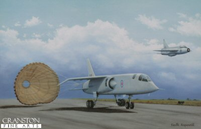 KA20.  Testing Time by Keith Aspinall. <p>A TSR2 deploys its parachute while a Lightning flies by.  Test pilot Roland Beamont finally made the first flight from the Aeroplane and Armament Experimental Establishment (A&AEE) at Boscombe Down, Wiltshire, on 27th September 1964. Initial flight tests were all performed with the undercarriage down and engine power strictly controlled - with limits of 250 kn and 10,000 ft on the first (15-minute) flight. Shortly after take off on XR219&#39;s second flight, vibration from a fuel pump at the resonant frequency of the human eyeball caused the pilot to throttle back one engine to avoid momentary loss of vision. Only on the 10th test flight was the landing gear successfully retracted - problems preventing this on previous occasions, but serious vibration problems on landing persisted throughout the flight testing programme. The first supersonic test flight (Flight 14) was achieved on the transfer from A&AEE, Boscombe Down, to BAC Warton.  During the flight, the aircraft achieved Mach 1 on dry power only (supercruise). Following this, Beamont lit a single reheat unit only (because of problems with the other engine&#39;s reheat fuel pump), with the result that the aircraft accelerated away from the chase Lightning flown by Wing Commander James &#39;Jimmy&#39; Dell, who had to catch up using reheat on both engines.  On flying the TSR-2 himself, Dell described the prototype as handling &#39;like a big Lightning&#39;. Over a period of six months, a total of 24 test flights were conducted.<b><p>Open edition print. <p> Image size 14.5 inches x 9.5 inches (37cm x 24cm)