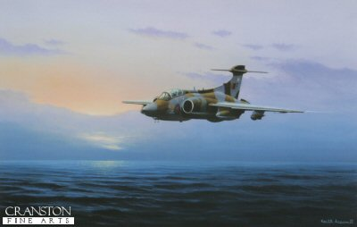 KA4.   North Sea Sortie by Keith Aspinall. <p>Buccaneer S2B McRoberts reply of No.XV squadron flies over the North Sea.  Designed for high-speed, deep penetration attacks at ultra low level, the Buccaneer has always been immensely popular with its aircrews. The design may be old, but the concept was brilliant, and the Buccaneer still retains a unique combination of range, war load and speed, unmatched by any other aircraft in RAF service. Pressed into service during the Gulf War, Buccaneers finally proved in the most spectacular manner what many had known for years - that the only suitable replacement aircraft for the Buccaneer is another Buccaneer.<b><p>Open edition print. <p> Image size 14.5 inches x 9.5 inches (37cm x 24cm)
