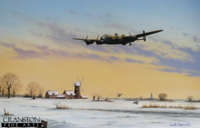 KA7. Breaking the Silence by Keith Aspinall. <p>Returning from a night mission, a sole Lancaster returns over the snow covered fields of England. A fitting tribute to the air crews of the Lancaster squadrons of World War Two.<b><p> Open edition print. <p> Image size 14.5 inches x 9.5 inches (37cm x 24cm)