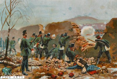 Das 5 Jager Batallion in der Schlacht am Mont Valerien. 19th Januar 1871 by Richard Knotel