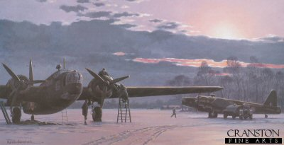 KW12.  Wellingtons by Keith Woodcock. <p>On a snow covered airfield in winter, ground crew prepare a Wellington for its next mission while a 2nd Wellington is being refueled.<b><p>Open edition print. <p> Image size 14.5 inches x 9.5 inches (37cm x 24cm)