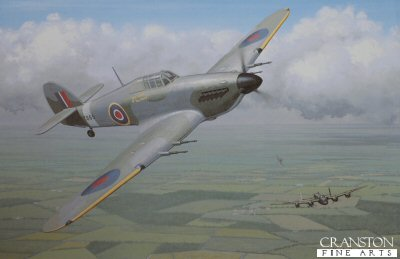 KW17.  The Last of the Many by Keith Woodcock. <p>Hurricane PZ865 of the Battle of Britain Memorial Flight.<b><p>Open edition print. <p> Image size 14.5 inches x 9.5 inches (37cm x 24cm)