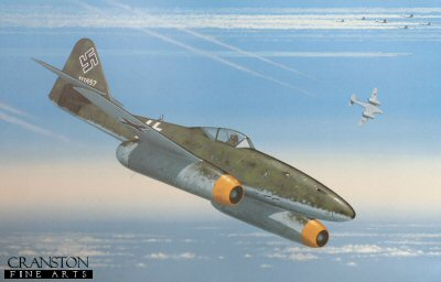 KW4.  Defence of the Reich by Keith Woodcock. <p>The Me 262 was so fast that German pilots needed new tactics to attack Allied bombers. In the head-on attack, the closing speed of about 320 metres per second was too high for accurate shooting. Even from astern, the closing speed was too great to use the short-ranged 30 mm cannon to maximum effect. Therefore, a roller-coaster attack was devised. The 262s approached from astern and about 1,800 m higher (5,900 ft) than the bombers. From about 5 km behind (3.1 mi), they went into a shallow dive that took them through the escort fighters with little risk of interception. When they were about 1.5 km astern (0.93 mi) and 450 metres (1,480 ft) below the bombers, they pulled up sharply to reduce their excess speed. On levelling off, they were 1,000 m astern (1,100 yd) and overtaking the bombers at about 150 km/h (93 mph), well placed to attack them.  Since the 30mm MK 108 cannon&#39;s short barrels and low muzzle velocity of 540 m/s (1,800 ft/s) rendered it inaccurate beyond 600 metres, coupled with the jet&#39;s velocity which required breaking off at 200 metres to avoid colliding with the target, Me262 pilots normally commenced firing at 500 metres. Turret gunners of Allied bomber aircraft found that their manned electrically powered gun turrets had problems tracking the jets. Target acquisition was difficult because the jets closed into firing range quickly and remained in firing position only briefly, using their standard attack profile, which proved more effective.  In February 1944, the USAAF introduced the P-51 Mustang, a fighter capable of escorting the USAAF bombers to and from their targets. With new fighter tactics, the Eighth Air Force gained air supremacy over Nazi Germany by the spring of 1944 against the Luftwaffe. By the summer of 1944, the Luftwaffe was also suffering from chronic fuel shortages and a lack of trained pilots and it ceased to be an effective fighting force by 1945. By the end of the campaign, American forces claimed to have destroyed 35,783 enemy aircraft and the RAF claimed 21,622, for a total of 57,405 German aircraft claimed destroyed. The USAAF dropped 1.46 million tons of bombs on Axis-occupied Europe while the RAF dropped 1.31 million tons, for a total of 2.77 million tons, of which 51.1 percent was dropped on Germany.<b><p>Open edition print. <p> Image size 14.5 inches x 9.5 inches (37cm x 24cm)