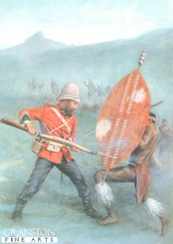 L2. Isandlwana 1879 by Stuart Liptrot <p>A solitary soldier of the 24th Reg. fights off the Zulu warrior in hand to hand combat with bayonet fixed as many more advance on him to seal his fate.  Last stand of the 24th South Wales Borderers at Isandhlwana during the Zulu War.  The battle of Isandhlwana, a Zulu victory over the British forces on 22nd January 1879 about 100km north of Durban.  Lord Chelmsford led a column of forces to seek out the Zulu army camped at Isandhlwana, while patrols searched the district.  After receiving a report, Chelmsford set forth at half strength, leaving six companies of the 24th Regiment, two guns, some Colonial Volunteers and a native contingent (in all about 1,800 troops) at the camp.  Later that morning an advanced post warned of an approaching Zulu army.  Shortly after this, thousands of Zulus were found hidden in a ravine by a mounted patrol but as the patrol set off to warn the camp, the Zulus followed. At the orders of the Camp Commander, troops spread out around the perimeter of the camp, but the Zulu army broke through their defences.  The native contingent who fled during the attack were hunted down and killed.  The remaining troops of the 24th Regiment, 534 soldiers and 21 officers, were killed where they fought.  The Zulus left no one alive, taking no prisoners and leaving no wounded or missing.  About 300 Africans and 50 Europeans escaped the attack. Consequently, the invasion of Zulu country was delayed while reinforcements arrived from Britain.<b><p> Signed edition. <p> Image size 7 inches x 11 inches (18cm x 28cm)