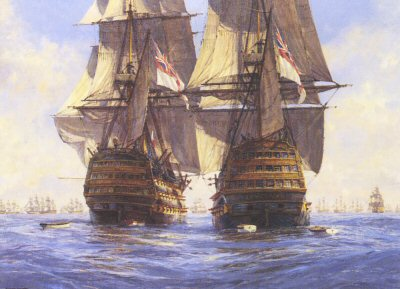 Victory Races Temeraire for the Enemy Line, Trafalgar 21st October 1805 by Geoff Hunt.