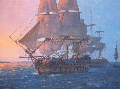 HMS Leander by Geoff Hunt.