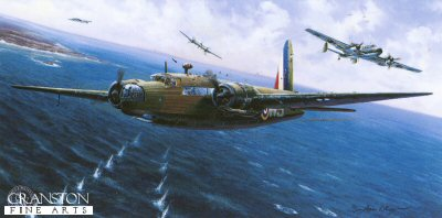 LE627.  A Hard Lesson to Learn by Adrian Rigby. <p>On 18th December 1939, a force of Wellington bombers attacked naval targets on the German coast.  On the return journey, they were attacked by enemy fighters, for over half an hour, bringing down 7 of the 22 Wellingtons.  A further 5 would be forced to crash land in England.  One of the surviving aircraft was flown by Sergeant Frank Petts who, in a futile attempt to shake off his attacker, dived to sea level.  Despite sustaining considerable damage and with two of his crew wounded, he brought the bomber safely home.  The experience of the raid forced the RAF to switch to night-time sorties, bombers were clearly too vulnerable without fighter escort.  Six months later, during the Battle of Britain, the Luftwaffe would learn the same lesson. <p>Edition sold out at publisher - we have the last few copies available.<b><p>Signed by Air Commodore Wilf Burnett DSO OBE DFC AFC (deceased). <p>Signed limited edition of 295 prints. <p> Image size 10 inches x 20 inches (25cm x 51cm)