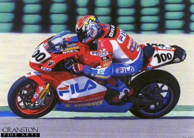LE741. One Hundred Percent by Dave Foord. <p>Neil Hodgson puts in 100% to achieve Pole Position, his 1st Double Win, the 1st Win for the Ducati 999 and the race and lap record at Valencia, March 2003.<p><b>Last 55 prints of this sold out edition.</b><b><p>Signed by <a href=signatures.php?Signature=1918>Neil Hodgson</a>. <p> Signed limited edition of 395 prints. <p> Image size 18 inches x 24 inches (46cm x 61cm)