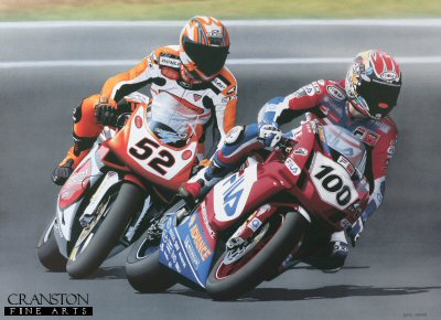 LE779. Battle of Britain by Dave Foord. <p> 2003 World Superbike Champion, Neil Hodgson with James Toseland in his slipstream.  British World Superbike - June 2003.<b><p>Signed by Neil Hodgson and James Toseland. <p> Signed limited edition of 395 prints. <p> Image size 18 inches x 24 inches (46cm x 61cm)