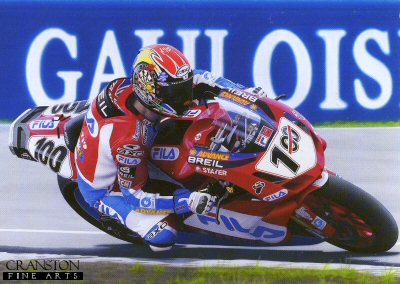 LE785. No.1 by Dave Foord. <p> Neil Hodgson celebrates winning the World Superbike Championship at Assen, September 2003.<b><p>Signed by Neil Hodgson. <p>Signed limited edition of 295 prints. <p>  Image size 18 inches x 26 inches (46cm x 66cm)