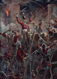 Storming of Badajoz by the Sherwood Foresters painting by Mark Churms. (P)