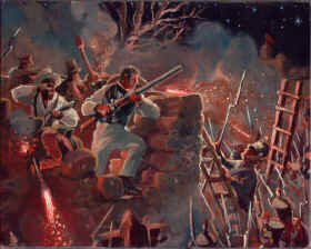 Colonel Travis Defending the Alamo by Mark Churms. (P)
