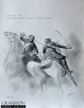Lucknow 1857 - Queens Bays Trooper Engaging Mutinous Officer by Mark Churms. (P)