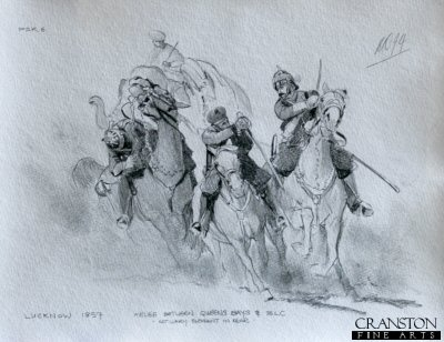 Melee Between the Queens Bays and Bombay Light Cavalry at Lucknow, 1857 by Mark Churms. (P)