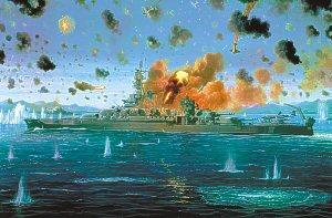 Reign of Fire - USS Pennsylvania, Leyte Gulf, 1944 by Mark Churms.