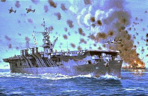 USS Langley II, Leyte Gulf 1944 by Mark Churms.