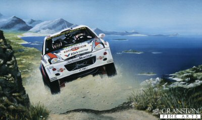 MT12. High Flier by Michael Thompson. <p> Colin McRae and Nicky Grist.  Ford Focus WRC <b><p> Limited edition of 500 prints. <p> Image size 18 inches x 11 inches (46cm x 28cm)