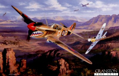 NT0004. Duel in the Desert by Nicolas Trudgian. <p> The P-40, legendary for its service with Chennaults Flying Tigers in China, was one of the RAFs principle fighters in the north African Desert war. A low-level dogfight between P-40 Kittyhawks of 112 Squadron is shown, as they tangle with the Luftwaffe ME109s over Matamata Hills, near the Mareth line on the border between Tunisia and Libya, early March 1943. <b><p> Signed by Group Captain Billy Drake DSO DFC* (deceased) <p> Signed limited edition of 400 prints. <p> Paper size 12 inches x 9.5 inches (31cm x 24cm)