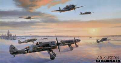NT239.  Ice Warriors by Nicolas Trudgian. <p>The Green Heart Warriors carried their famous emblem throughout almost every European theatre during World War Two.  Having fought with distinction in the Battle of Britain, JG54 transferred to the Eastern Front, where it was to acheive historic success.  Becoming one of the most successful combat wings of the war, JG54 spawned a succession of top fighter Aces, no fewer than 20 achieving more than 100 air victories, its pilots collecting an impressive 58 Knights Cross awards.  Flying both Fw190s and Me109s, JG54 took part in the heavy air fighting in the northern region of the Russian Front, where conditions were not for the faint hearted and demanded exceptional piloting skills.  One young Austrian pilot, Walter Nowotny, won a reputation even among Allied pilots, and during the summer of 1943 became a virtual one-man air force in the skies above the Eastern Front.  In June 1943 he shot down 41 aircraft, 10 in one day.  In August he collected a further 43 air victories, and another 45 the following month.  In a dgo-fight in October Nowotny shot down a P-40 fighter to record an astounding 250 air victories, becoming the first fighter pilot in history to acheive this score. It is February 1943, the countryside deep in snow, and the temperature well below freezing as Leutnant Walter Nowotny, Staffelkapitan of 1./JG54, taxis White One out from a crowded dispersal on to the snow covered runway at Krasnogvardeisk. With their temporary whitewash colour scheme glinting in the early morning sunlight,  the FW190A-4s pose a menacing spectacle as they line up to follow the fighters of 2./JG54, already airborne, into the cold morning air. <br><br><b>Published 2002<br><br>Signed by three famous Luftwaffe Aces who flew with JG54 Green Hearts.</b><p><b>Last 40 available of this sold out edition.<b><p> Signed by Major Hans-Ekkehard Bob, <br>Leutnant Hugo Broch <br>and <br>Major Eric Rudorffer (deceased).  <p> Signed limited edition of 500 prints. <p> Image size 30 inches x 16 inches (76cm x 41cm)