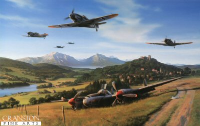 NT326. Messerschmitt Country by Nicolas Trudgian. <p> Nobody, least of all Allied aircrew, ever doubted the tenacity of the Luftwaffe, more particularly that of the German fighter pilots.  From the early encounters during the Battle of Britain to the greeat air battles in defence of their homeland late in the war, at all times they were held in high regard, even if resented as a foe.  At no time was their dedication, determination, and courage better demonstrated than during the final stages of World War Two.  By the summer of 1944 the Allies had gained a foothold in Normandy, and total air superiority above northern France.  German installations and ground positions were being pounded daily from the air, and the Ruhr, the heartland of industrial Germany, was under constant siege.  Even the factories in southern Germany were not safe from the attentions of the USAAF bombers by day, and the RAF by night.  But in spite of the pressures of mounting losses and diminished supplies, the Luftwaffe fought doggedly on in best traditions of the fighter pilot.  The morning of 19th July 1944 saw the USAAFs 8th and 15th Air Forces mount an attack of awesome proportion against the aircraft factories in the region of Munich.  To combat a seemingly overwhelming force of 1400 bombers and almost as many fighter escorts, the Luftwaffe were able to put up just three Gruppen from JG300 and one from JG302, flying a mix of Me109Gs and Fw190s - barely 50 serviceable fighters between them.  They were joined by a dozen Me109s of II./JG27, these fighters desperately trying to defend the very factories in which they were made. <p><b>Sold without companion print.</b><b><p> Signed by Oberleutnant Siegfried Bethke (deceased), <br>Oberleutnant Gunther Seeger <br>and <br>Oberleutnant Ernst Scheufele (deceased), in addition to the artist.  <p> Signed limited edition of 350 prints. <p> Image size 25 inches x 16 inches (64cm x 41cm)