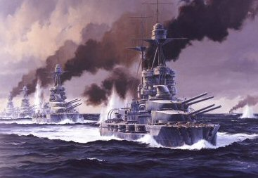 HMS Barham leads the 5th Battle Squadon at Jutland by Anthony Saunders. (PC)