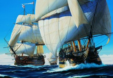 P1459. Hearts of Oak Ivan Berryman. <p> It is September 18th, 1805, off Plymouth. Led by the 74-gun HMS Thunderer, with HMS Ajax astern, HMS Victory, with Admiral Lord Horatio Nelson aboard, begins her journey south to join the rest of the British fleet off Cadiz where the combined French and Spanish fleets lay blockaded. This was the prelude to the Battle of Trafalgar and the last time Nelson would see his beloved England. <b><p>Postcard<p> Postcard size 6 inches x 4 inches (15cm x 10cm)