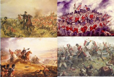 PPACK0034.  Postcard Pack 0034.  <p>Titles inlcude: <br><b> DHM030 Battle of Waterloo by Robert Hillingford. <br> DHM197 Now Maitland, Now is Your Time by T J Barker. <br> DHM004 Capture of the French Eagle by Sgt Ewart by Sulliven. <br> The 27th Foot (Inniskilling) at Waterloo by Brian Palmer. </b><b><p>Set of 4 postcards.<p> All postcards size 6 inches x 4 inches (15cm x 10cm)