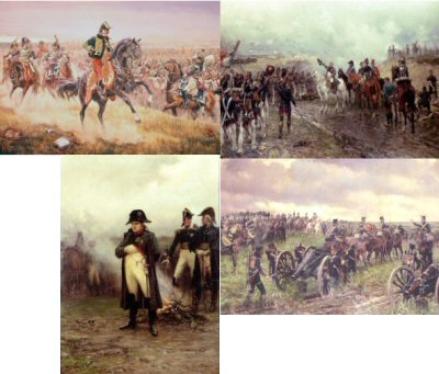 PPACK0036.  Postcard Pack 0036. <p>Titles included: <br> <b> DHM294 Napoleons Last Grand aTtack by Ernest Crofts. <br> DHM206 Napoleon by Ernest Crofts.<br> DHM158 Napoleons Last Inspection Before Waterloo by J P Beadle. <br> DHM249 La Salle at the Battle of Wagram by Mark Churms. </b> <b><p>Set of 4 postcards.<p> All postcards size 6 inches x 4 inches (15cm x 10cm)