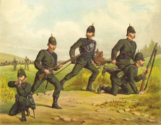 The Kings Royal Rifle Corps (60th), Skirmishing by Richard Simkin.