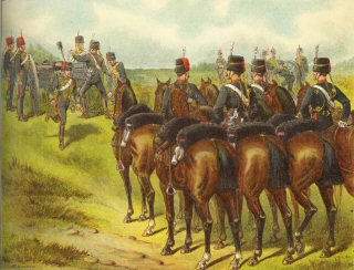 The Royal Horse Artillery.  A Battery in Action by Richard Simkin.