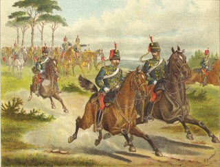 Scouts of the 11th Hussars Galloping out at a Field Day by Richard Simkin.