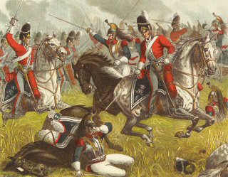The 2nd Royal North British Dragoons (Scots Greys) at Waterloo 1815 by Richard Simkin.