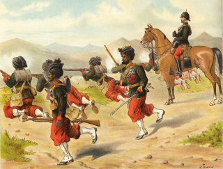 The 29th Bombay Native Infantry (Duke of Connaughts Own Belooch Regt) Field Firing (Marching Order) by Richard Simkin (P)