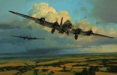 RT2.  Thunderheads Over Ridgewell by Robert Taylor. <p>In the early days of the USAAF daylight bombing campaign, before the arrival of long-range fighter escorts, rarely was a mission flown without Luftwaffe interception and the ever-present barrage of anti-aircraft fire. The Eighth Air Force crews literally fought their way through swarms of enemy fighters and thick flak to hit their targets, then fought their way home again. Seldom a formation returned without losses and casualties, but inexorably the American bomb groups struck deeper and deeper into enemy territory. Bomber crews lucky enough to survive a complete tour were few and far between. They knew this when they arrived in England at the start of their tour, and the awesome task they faced banded the flyers together like brothers. They flew and fought for each other, their country and liberty with determination and a camaraderie that only those who went through the experience could fully appreciate. In his tribute to the USAAF bomber crews, Robert Taylor has selected the 381st Bomb Group to represent, and pay tribute to all those who flew the perilous daylight raids out of bases in England into the heavily defended skies above enemy occupied Europe. Roberts emotive painting shows 381st Bomb Group B-17 Fortresses returning to Ridgewell on a summer afternoon in 1944 during a period when the Group reached the peak of it effectiveness- for several months it was the top ranked outfit in the Eighth. Between June 1943 and the end of hostilities the 381st completed 297 combat missions, hit almost every important target in German hands and was credited with the destruction of 223 enemy aircraft. One aircraft, more than any other, came to symbolise the great bombing campaign of the USAAF in Europe during World War Two, and in his spectacular new painting Robert Taylor captures the magnificence of Boeings legendary B-17 Flying Fortress. In his inimitable style the artist brings to life an exact wartime scene, a battl