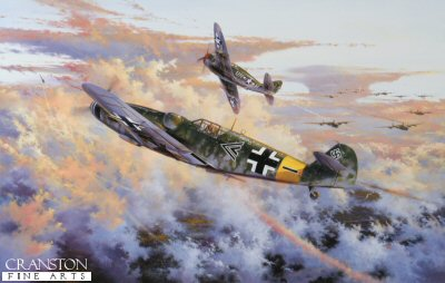 SA1.  Eagle Strike by Simon Atack.  <p> Flying his Messerschmitt Me109G6, Major Gunther Rall, Group Commander of II./JG11 with over 200 air victories already to his credit, clashes with a P-47 Thunderbolt of the 63rd Sqn, 56th Fighter Group high over the Rhine south of Koblenz, May 12, 1944. Led by Colonel Hub Zemke, the 56th Fighter Group played advance guard to a deep penetration bomber raid to central Germany. As his forty eight P-47 Thunderbolts arrived to sweep the sky around the Koblenz - Frankfurt area, the Me109s of II./JG11 pounced from a 5000 feet height advantage. Simon Atacks high-impact painting shows Major Gunther Rall bringing down Hub Zemkes wingman, the first of two victories he claimed before himself being brought down by 56th Fighter Group P-47s later in the combat. Gunther Rall returned to combat flying, commanding JG300 until the end of hostilities by which time, with 275 air victories, he became the third highest scoring Ace in history.  <p><b>Less than 30 prints available in this sold out edition. </b><b><p> Signed by Generalleutnant Gunther Rall  (deceased) <p> Signed limited edition of 500 prints.  <p>Paper size 31 inches x 23 inches (79cm x 58cm)