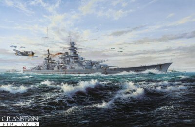 SA2.  Escort to the Scharnhorst by Simon Atack. <p> When the German battleships Scharnhorst and Gneisenau entered Brest in March, 1941, between them they had sunk a total of 22 ships during their North Atlantic operations. Laying in port however, they became a target for constant air attack, Scharnhorst being damaged by bombs, and in February 1942 the decision was made to break out with the famous Channel Dash. Scharnhorst led the flotilla in a daring passage through the English Channel, heading for the sanctuary of Wilhelmshaven. They all got through but, striking two mines en-route, it was March 1943 before the Scharnhorst was able to resume battle operations when, under heavy escort, she sailed for Norway. Simon Atacks panoramic seascape depicts a scene from Operation Paderborn as Scharnhorst ploughs through a lively swell with Fw190s of I./JG5, based at Oslo Fornebu, providing fighter cover. Steaming in company with destroyers Z-28 and Erich Steinbrinck, the mighty German battleship has departed Gotenhafen and is heading towards Bogen Bay, near Narvik in Norway. But Scharnhorsts days were numbered. On 26 December 1943 the huge battleship attacked a convoy off North Cape, but in the heavy seas Scharnhorst became detached from her destroyer escort. With the British Home Fleet aware of her position, and intentions, she was intercepted, the Britishbattleship Duke of York landing a barrage of 14-inch shells on the mighty German warship. The blows were fatal, the coup-de-grace coming shortly after, when 11 torpedoes sent the magnificent but deadly battleship quickly to the bottom. There were just 36 survivors. <p><b>Last 8 copies available of this sold out edition.</b><b><p> Signed by Matrosen Obgefreiter Wilhelm Alsen. <p> Signed limited edition of 500 prints. <p> Paper size 30 inches x 22.5 inches (76cm x 57cm)