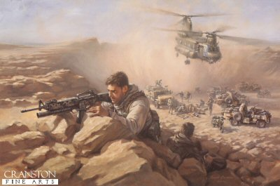 SB7. Mobility Troop Re-Supply by Stuart Brown. <p>A heavily armed SAS fighting column is re-supplied by a Royal Air Force Chinook of 7 Sqn.  Re-supplies such as these, often performed under the cover of darkness, allow Special Forces to operate deep behind enemy lines for months at a time where necessary. <b><p> Signed limited edition of 650 prints.<p>  Image size 23 inches x 15.5 inches (58cm x 40cm)